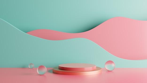 Fundo colorido do palco do pódio da renderização 3d com bolhas. foto premium Foto Premium