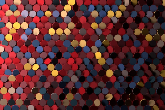Fundo com círculos amarelos azul vermelhos aleatórios das lantejoulas. fundo do cartão do disco do partido. Foto Premium