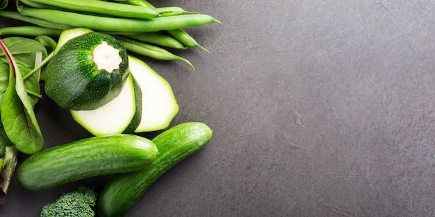 Fundo, com, sortido, verde, legumes Foto Premium