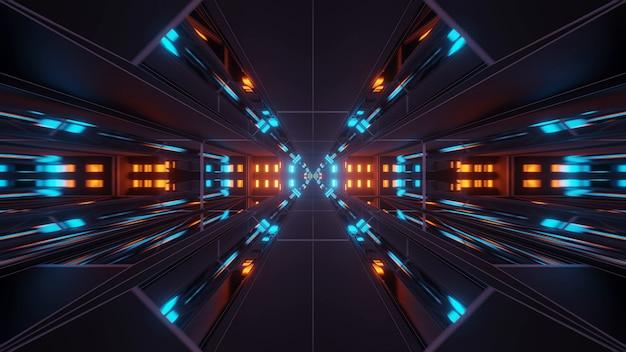Fundo cósmico com luzes coloridas de laser laranja e azul - perfeito para um papel de parede digital Foto gratuita