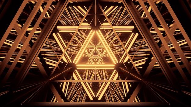 Fundo cósmico com luzes de laser douradas Foto gratuita