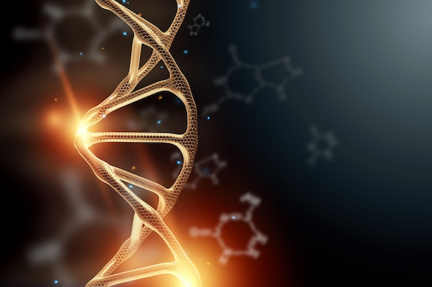 Fundo criativo, estrutura de dna, molécula de dna dourada sobre fundo cinza, ultravioleta Foto Premium