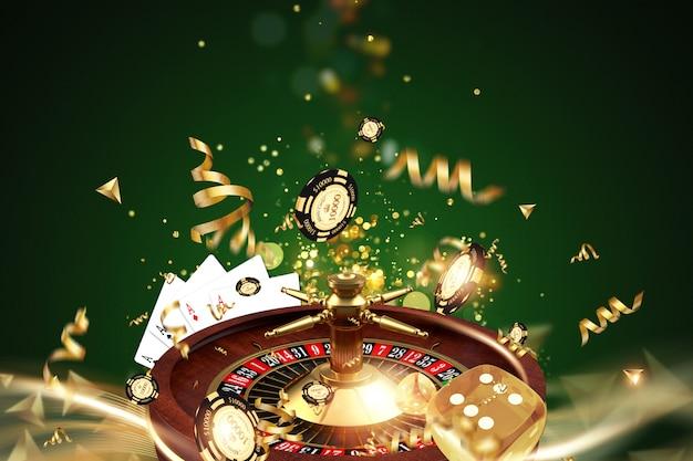 Fundo criativo, roleta, dados de jogos, cartas, fichas de casino em um fundo verde Foto Premium