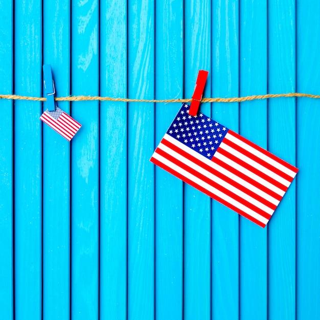 Fundo da bandeira americana no varal Foto gratuita