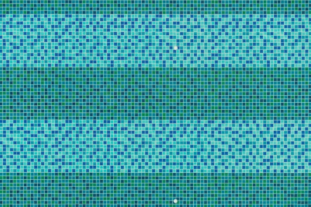 Fundo da opinião superior da piscina, mosaico azul e verde de aquas do azulejo na piscina. Foto Premium