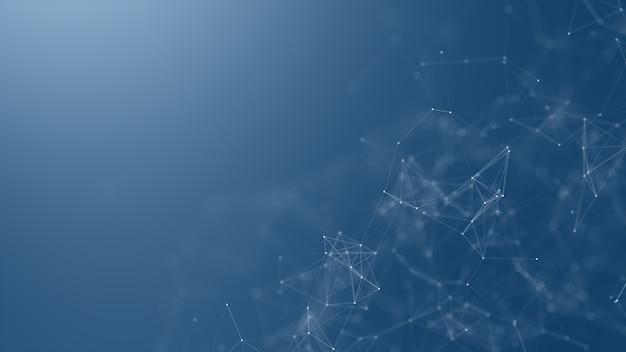 Fundo da rede de digitas, de comunicação e de tecnologia com linhas moventes e pontos. Foto Premium
