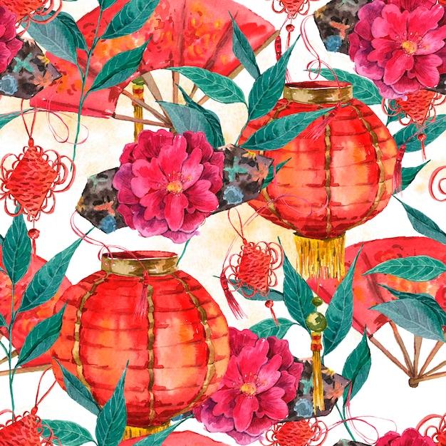 Fundo de ano novo chinês aquarela sem emenda Foto Premium