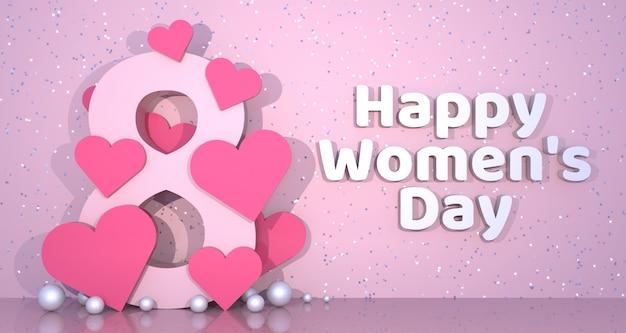 Fundo de banner do dia da mulher. renderização em 3d. Foto Premium