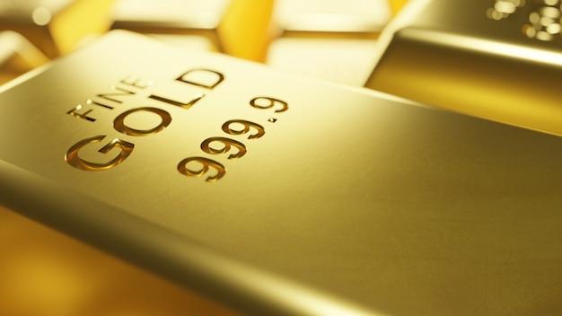 Fundo de barras de ouro macro 3d rendem Foto Premium