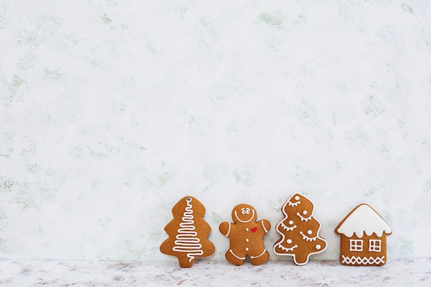 Fundo de biscoitos de gengibre de natal Foto Premium