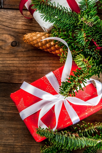 Fundo de cartão festivo de natal Foto Premium