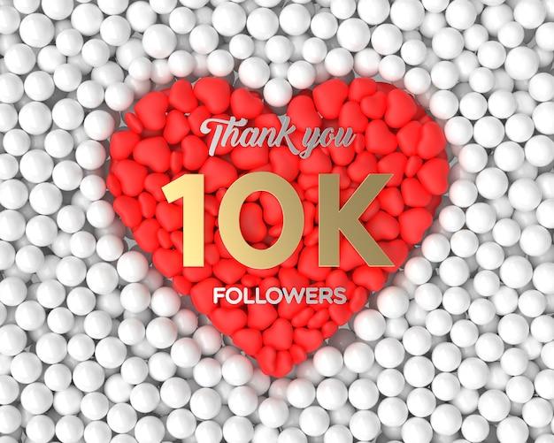 Fundo de celebração do seguidor 3d 10k Foto Premium