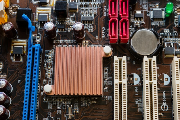 Fundo de chip de computador closeup Foto Premium