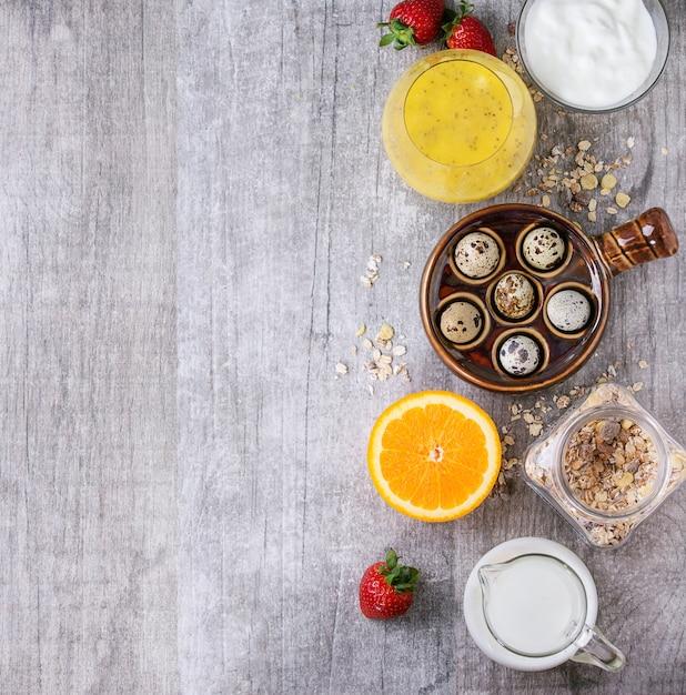 Fundo de comida com café da manhã saudável Foto Premium