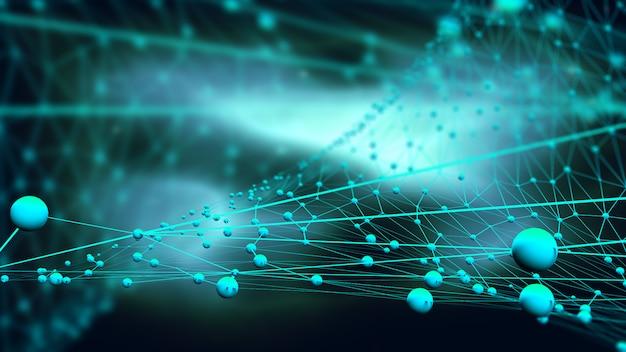 Fundo de conexões 3d com esferas e linhas de conexão Foto gratuita
