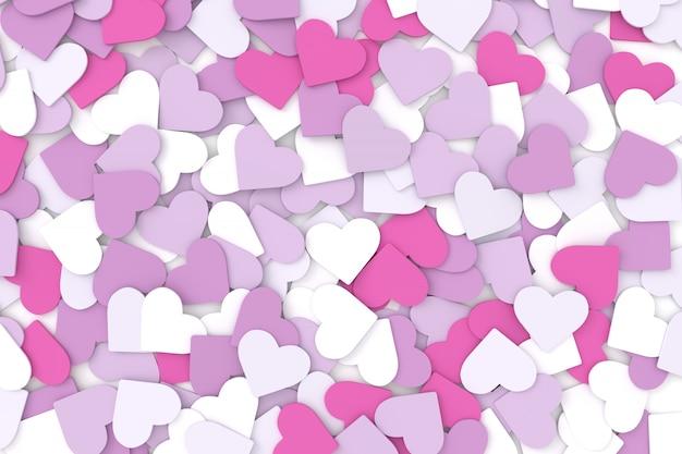 Fundo de corações. renderização em 3d. Foto Premium