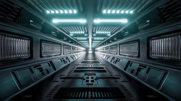 Fundo de corredores de nave espacial de ficção científica, renderização em 3d. Foto Premium