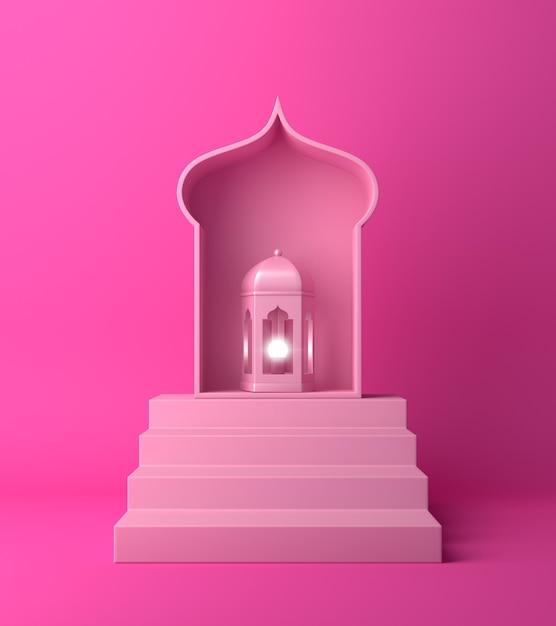 Fundo de decoração islâmica com lanterna Foto Premium