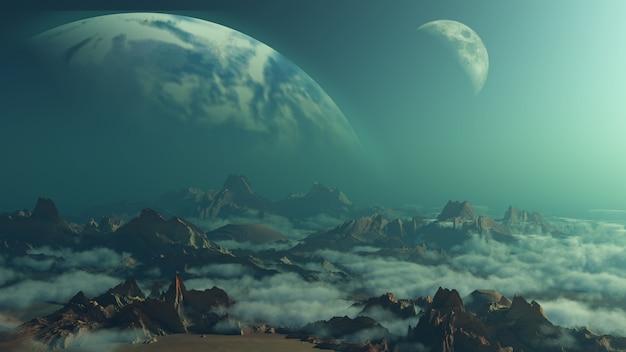 Fundo de espaço 3d com planetas fictícios Foto gratuita