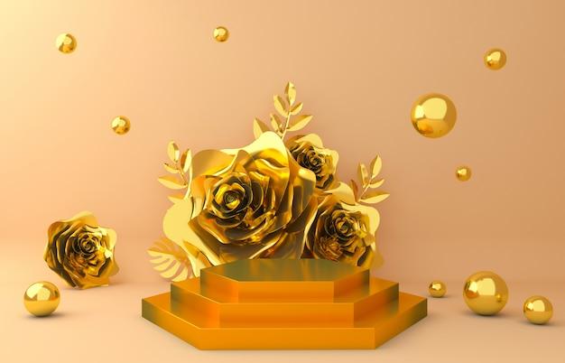 Fundo de exibição de ouro para apresentação de produtos cosméticos. mostra vazia, rendição da ilustração de papel da flor 3d. Foto Premium