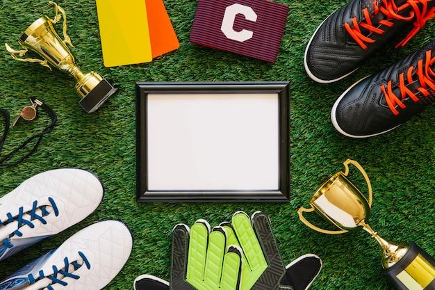Fundo de futebol com moldura Foto gratuita