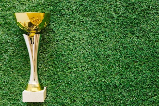 Fundo de futebol na grama com troféu e copyspace Foto Premium