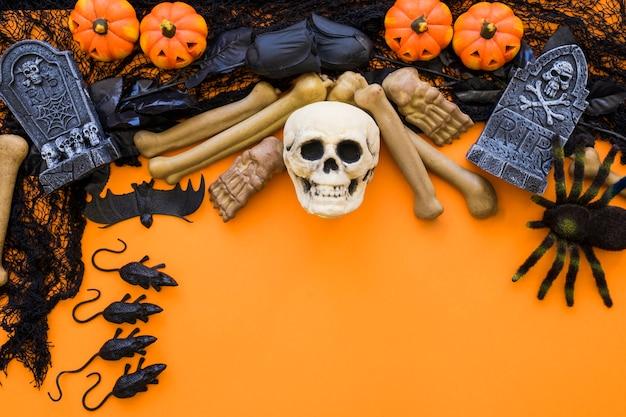 Fundo de halloween com caveira Foto gratuita