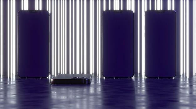 Fundo de linhas de néon com smartphones Foto gratuita