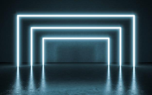 Fundo de luzes de néon. ilustração 3d Foto Premium