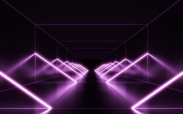 Fundo de luzes de néon. renderização em 3d Foto Premium