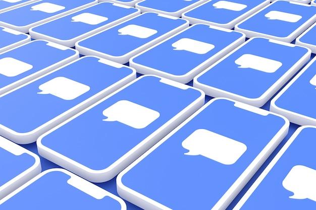 Fundo de mídia social na tela smartphone ou render 3d móvel Foto Premium