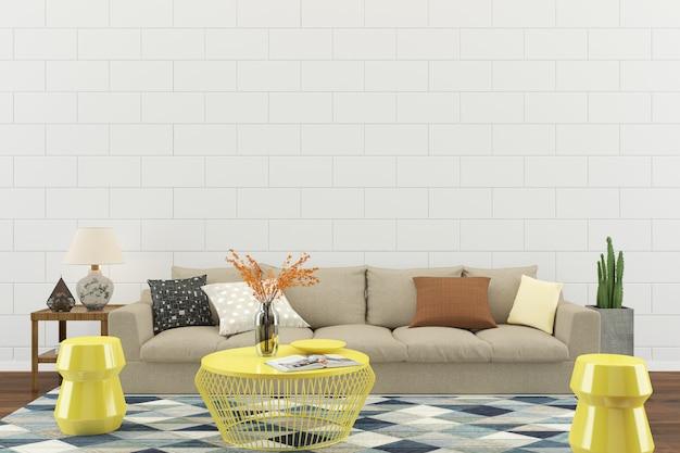 Fundo de modelo de piso de casa de parede interior de sala de estar Foto Premium