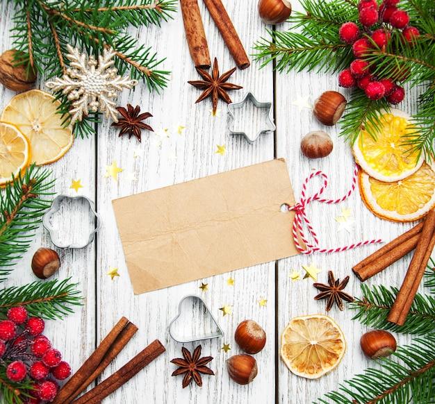 Fundo de natal, papel em branco com decoração Foto Premium