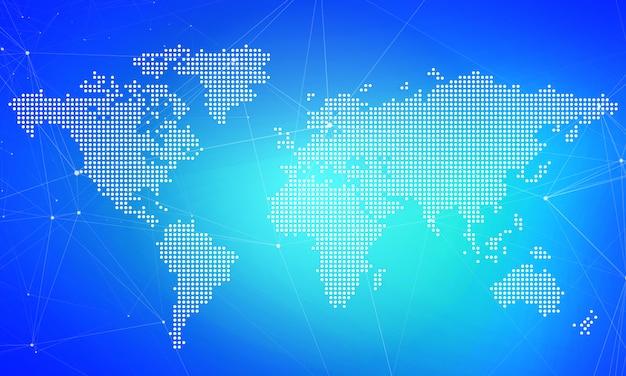 Fundo de negócios de marketing digital. conceito de pontos de mapa do mundo Foto Premium