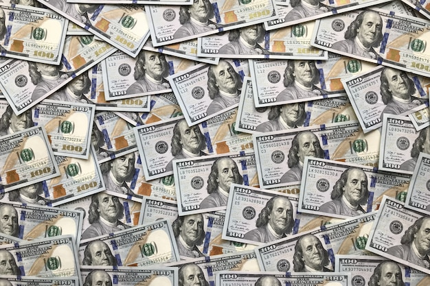 Fundo de notas de 100 dólares Foto Premium