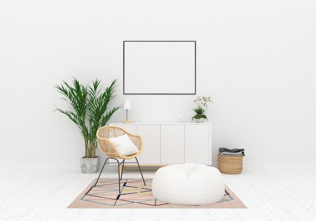 Fundo de obras de arte horizontal de maquete interior escandinavo Foto Premium