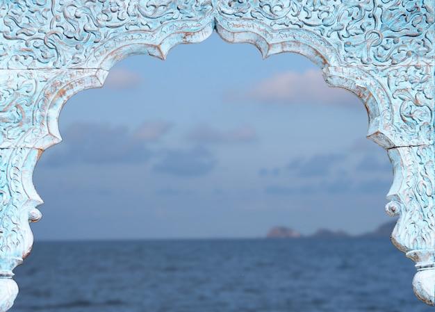 Fundo de paisagem vintage janela Foto Premium