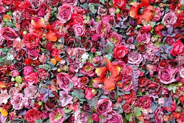Fundo de parede floral colorido decorativo Foto Premium