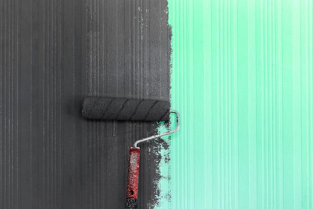 Fundo de pintura de escova de rolo Foto Premium