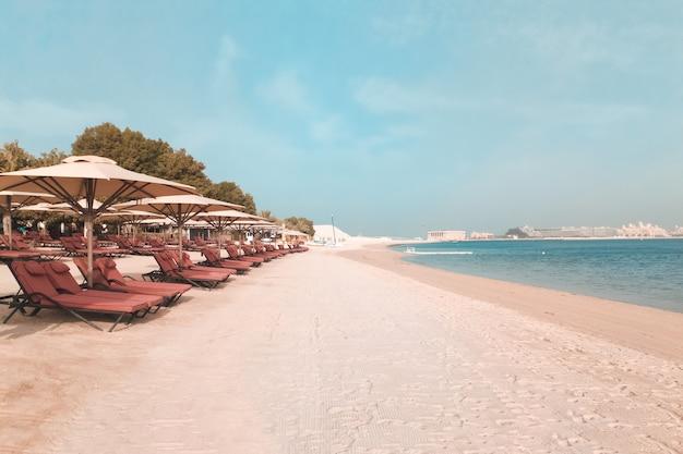 Fundo de praia férias férias. a praia com espreguiçadeiras e guarda-sóis em dubai, às margens do golfo arábico. Foto Premium