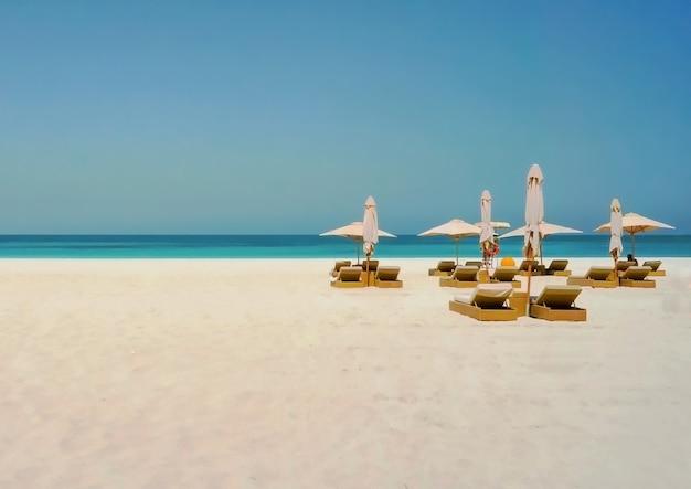 Fundo de praia férias férias. abu dhabi. praia ecológica na ilha de saadiyat. Foto Premium