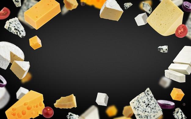 Fundo de quadro de queijo, diferentes tipos de queijo Foto Premium