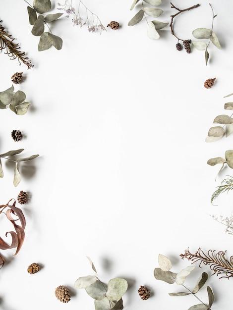 Fundo de quadro natural criativo plana leigos de peças de plantas secas de inverno Foto Premium