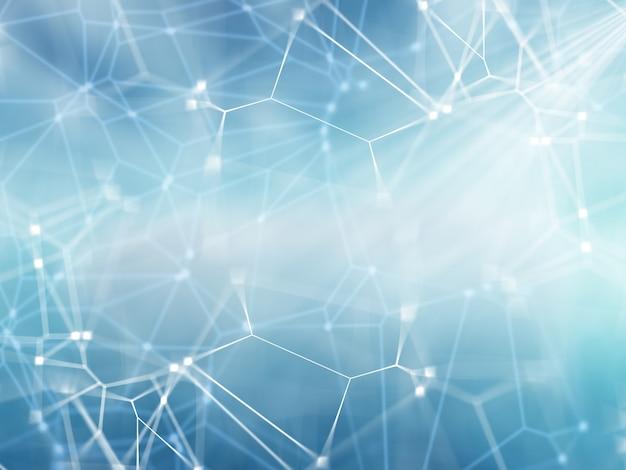 Fundo de rede 3d com linhas e pontos de conexão Foto gratuita
