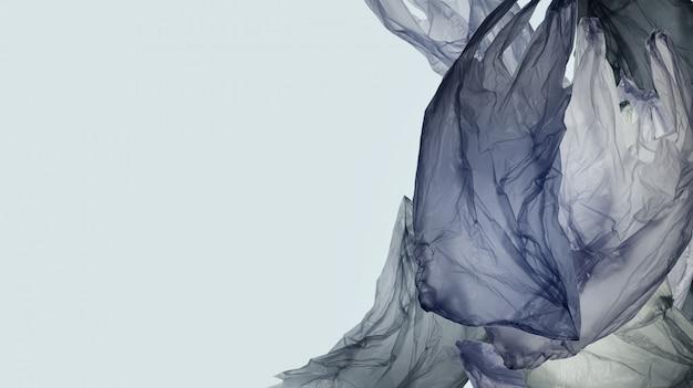 Fundo de sacos de plástico com espaço da cópia para textos. o problema da ecologia, poluição ambiental, fundo do conceito da conscientização plástica. Foto Premium