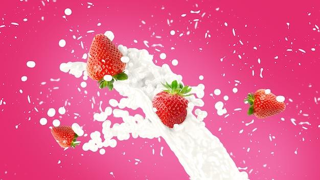 Fundo de splash de milkshake de morango Foto gratuita