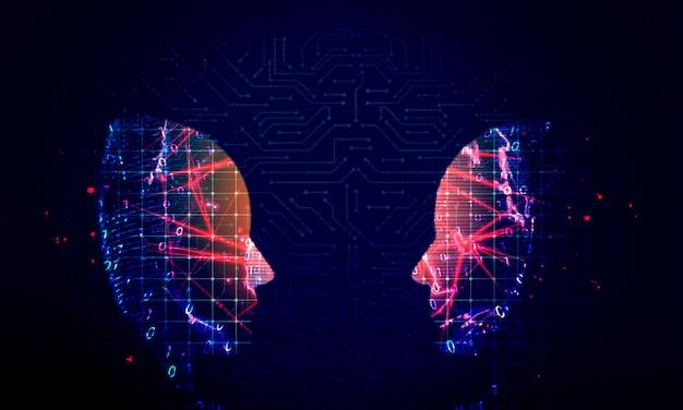 Fundo de tecnologia de cabeça humana Foto Premium