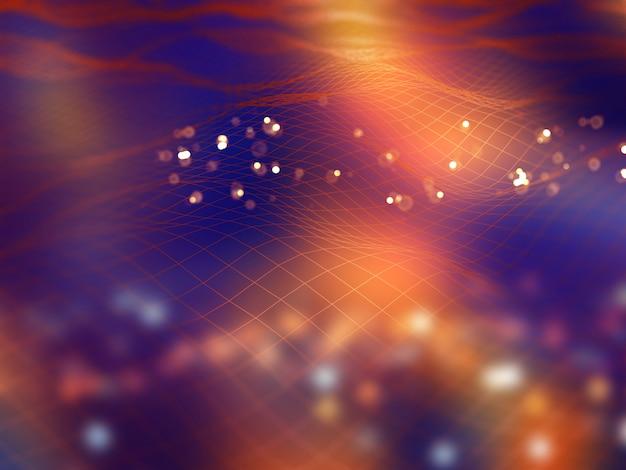 Fundo de tecnologia moderna 3d com linhas fluidas de conexão Foto gratuita