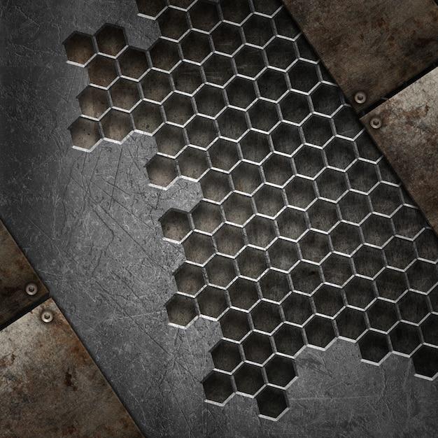 Fundo de textura 3d grunge com vários elementos de metal Foto gratuita