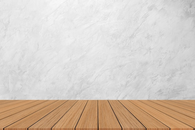 Fundo de textura de mármore branco moderno com piso de madeira para mostrar, promover, banner de anúncios em exposição Foto Premium